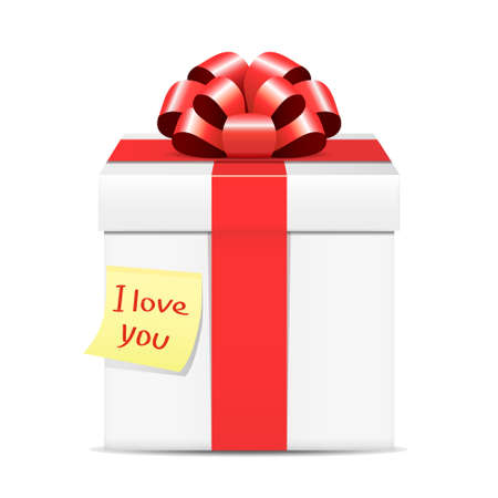 glued: Paper note with the words I love you glued to the gift box