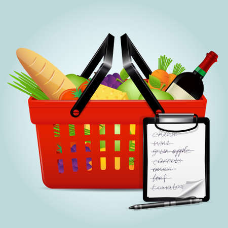 aple: Shopping basket with foods