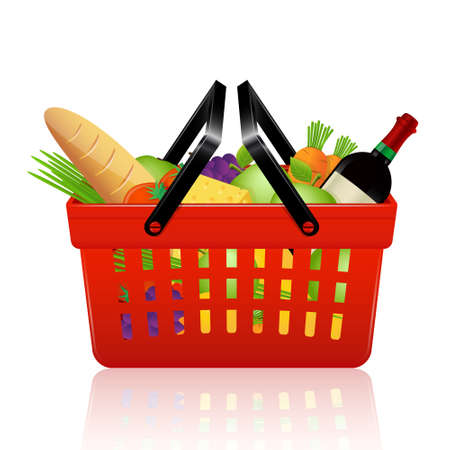 Shopping basket with groceries. Vector illustration.