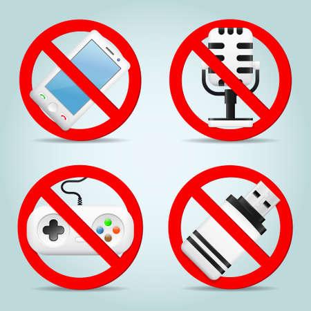 prohibited: Technology prohibited signs Illustration