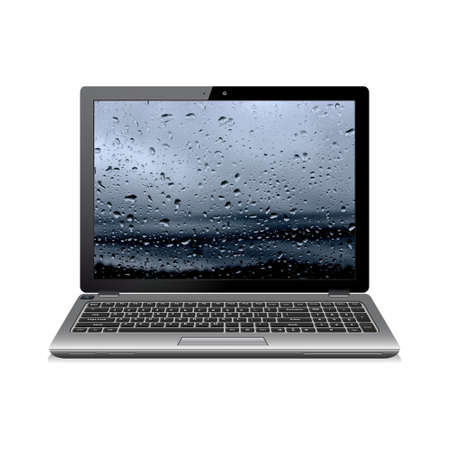 Notebook isolated on white with water drops wallpaper
