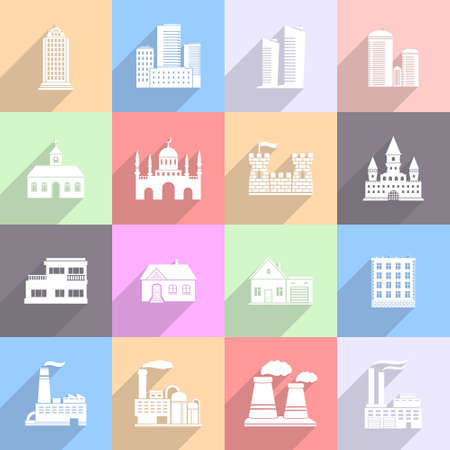 Building Flat Icons Set Illustration