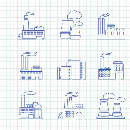 Hand drawn factory icons on a notebook sheet Illustration