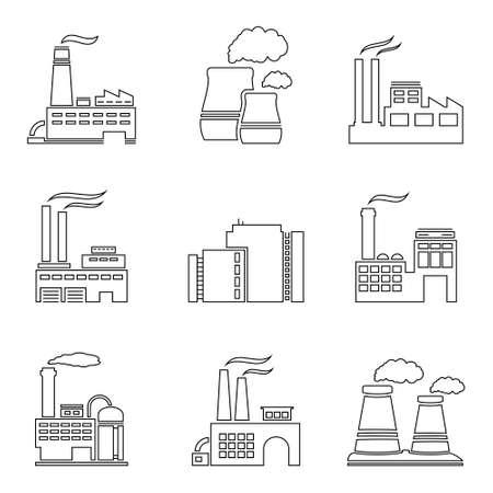 industria quimica: F�brica de iconos de la l�nea delgada Vectores