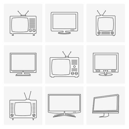 TV thin line icons set