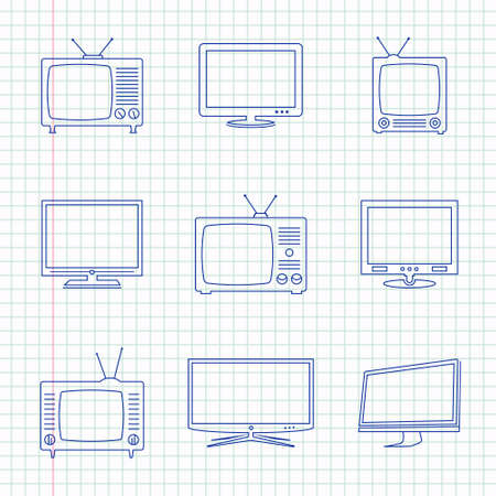 television aerial: TV hand drawn icons