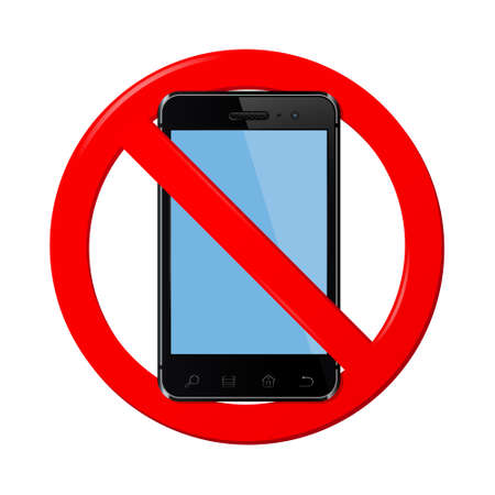 cell phones not allowed: No mobile phone sign, vector illustration