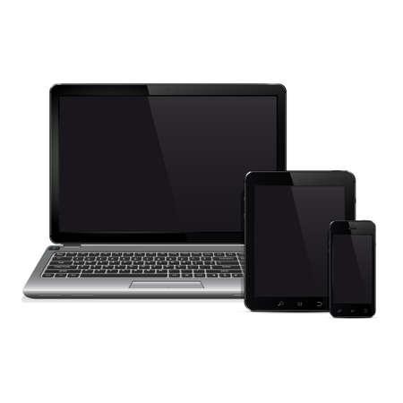 ベクトルのノート パソコン、タブレット pc、携帯電話スマート フォン