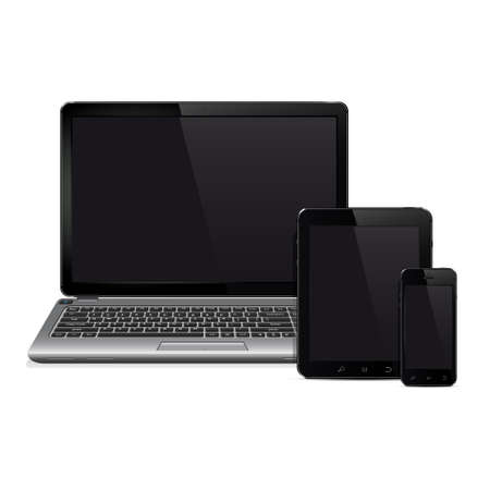 Vector laptop, tablet pc computer and mobile smartphone Illustration