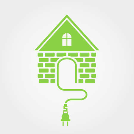 mains: Green house with socket, home electricity icon