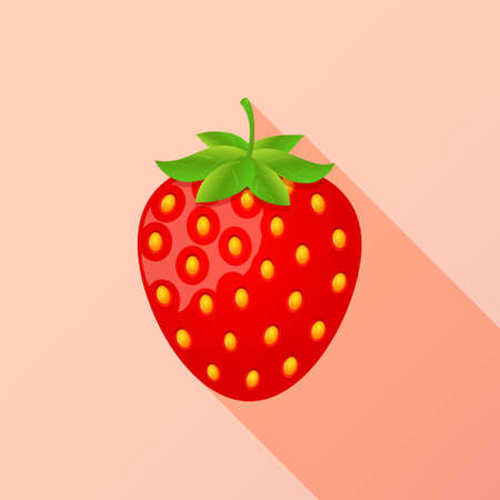 Strawberry flat icon with long shadow