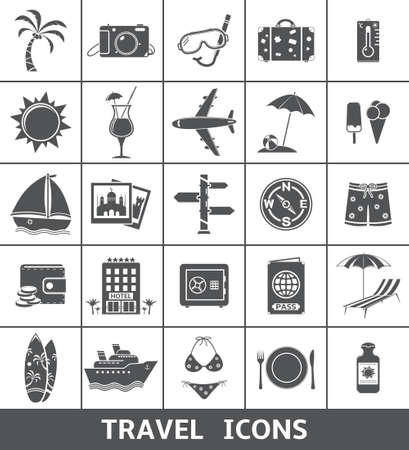 tree world tree service: Travel and tourism icons set