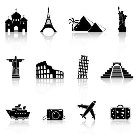 Travel and landmarks icons Stock Illustratie