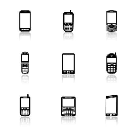 Mobile phone icons with reflection Vector