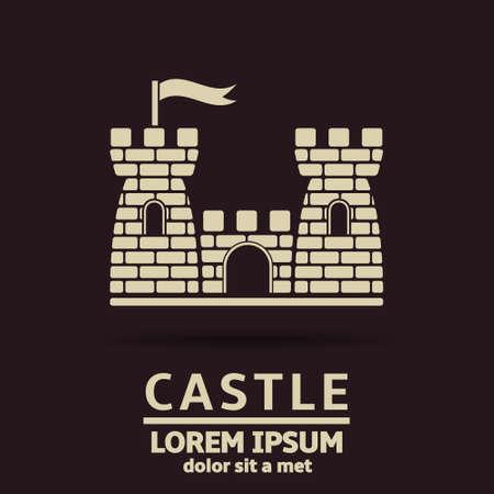 castillo medieval: Castillo del icono del vector plantilla de dise�o