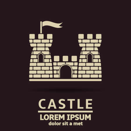 castle silhouette: Castle vector icon design template