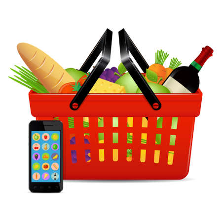Food ordered online with use of smart phone. Online shopping concept. Vector