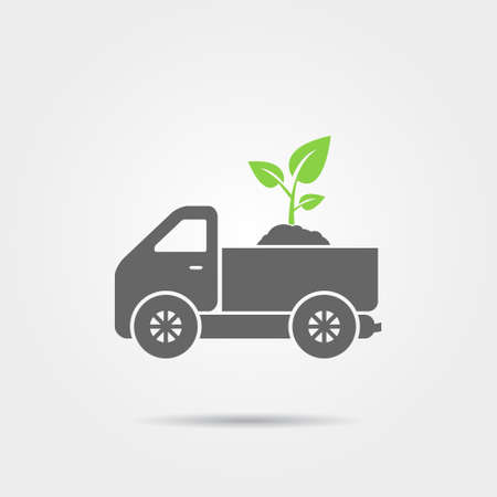 soil: Truck with soil and sprout icon