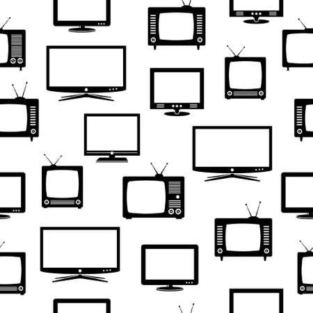 tv antenna: Seamless pattern with television sets Illustration