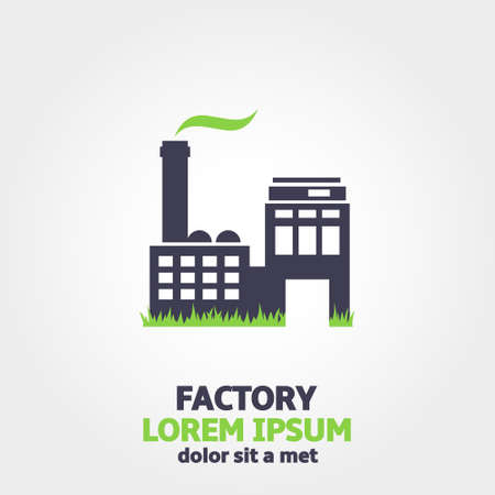 Eco factory icon Illustration