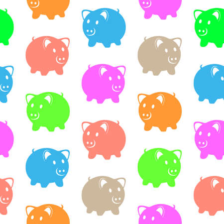 blu: Seamless pattern with colorful pigs Illustration