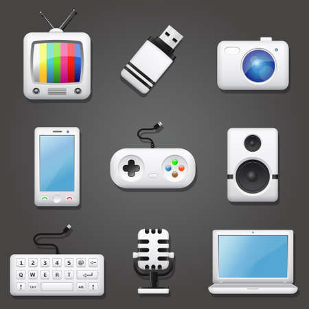 media equipment: Technology Icons Set Illustration