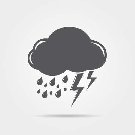 lightning: Cloud with lightning and rain - weather icon Illustration