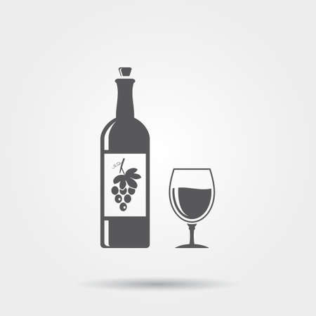 sommeliers: Bottle of wine with a glass - vector icon