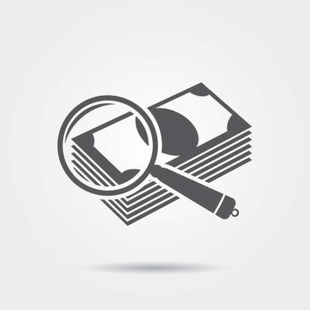 dinero falso: Dinero bajo una lupa - vector icon