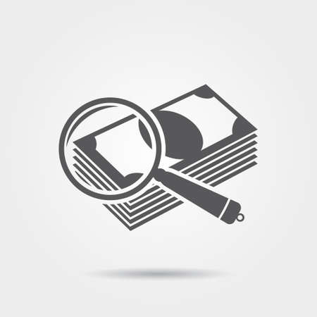 Money under a magnifying glass - vector icon