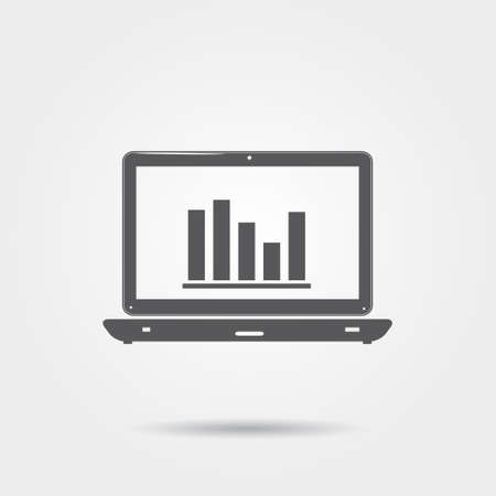 laptop icon: Laptop with information analysis - vector icon