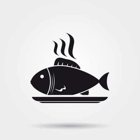 crucian carp: Fish on plate icon