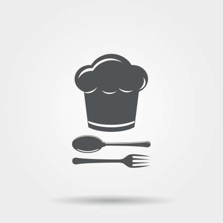 master chef: Chef hat with cutlery vector icon Illustration