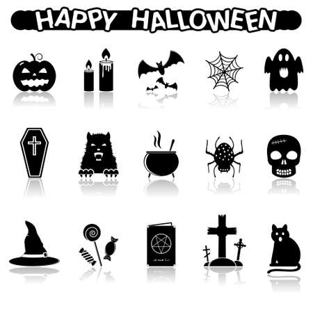 in reflection: Halloween icons with reflection