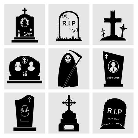 dead man: Gravestone icons set