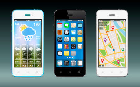 Smart phones with apps icons, weather and GPS navigation widgets Zdjęcie Seryjne - 48053908