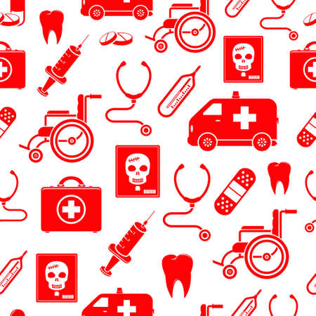 unwell: Medical seamless pattern in red color