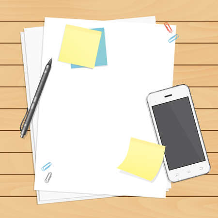 pen and paper: Workplace organization. Top view with wooden table, smartphone, pen, paper, sticky notes and paper clips.
