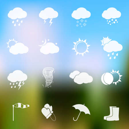 hurricane weather: Weather vector icons on blurred background Illustration