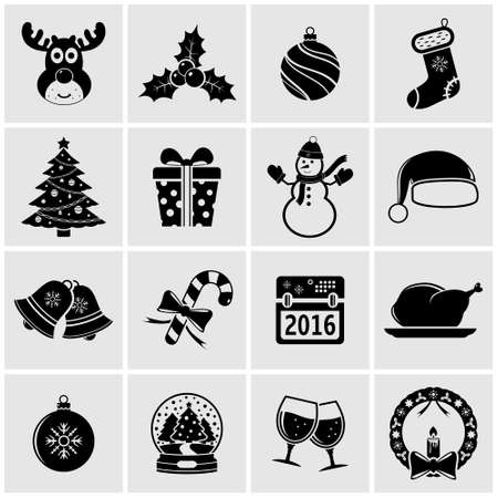 holidays: Christmas holiday icons set Illustration