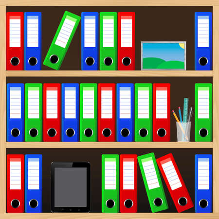 file folders: File folders standing on the shelves at office.  Illustration