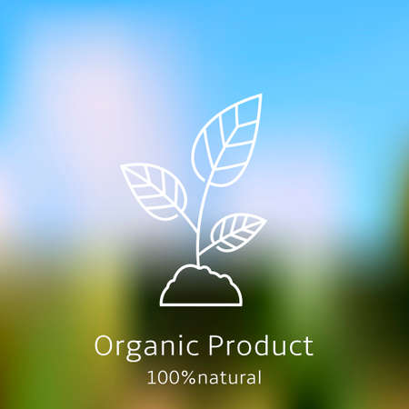 sprout: Organic product badge with sprout on blurred landscape Illustration