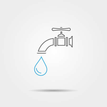 run off: Water tap line icon
