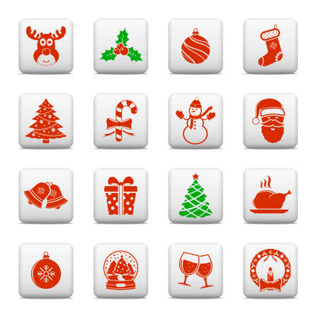 Christmas holiday icons on web buttons