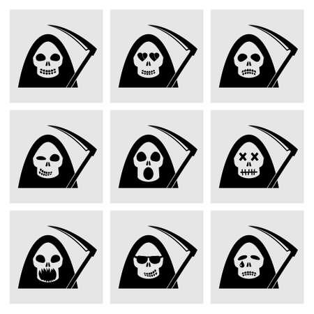 scary face: Death emoticon icons.