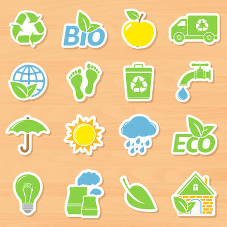 trash basket: Ecology stickers set on wooden background.  Vectores