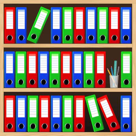 folder: Los estantes de madera con las carpetas de archivos. Vectores