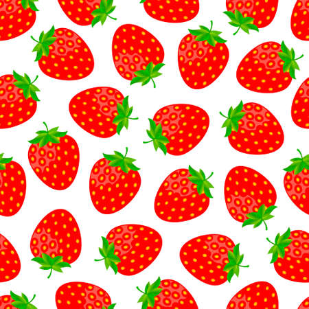 cartoon strawberry: Sweet strawberries seamless pattern Illustration