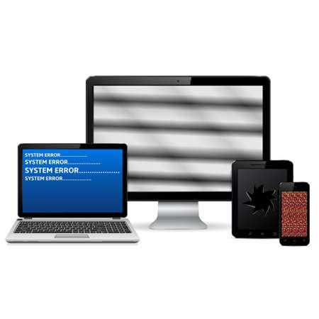 Vector Reihe von fehlerhaften digitalen Geräten isoliert auf weißem Hintergrund
