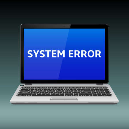 Business laptop with system critical error message on blue screen, Vector illustration.